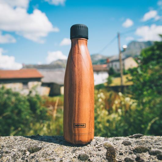 Bouteille isotherme effet BOIS à double paroi, 500 ml, Gourde en acier inoxydable - Garde Froid 8h ou Chaud 12h - Sans BPA