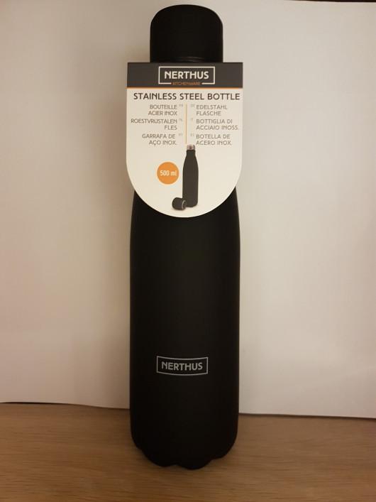 Bouteille isotherme noire à double paroi, Gourde en acier inoxydable - Garde Froid 8h ou Chaud 12h - Sans BPA
