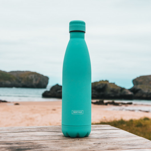Bouteille isotherme turquoise à double paroi, 500 ml, Gourde en acier inoxydable - Garde Froid 8h ou Chaud 12h - Sans BPA