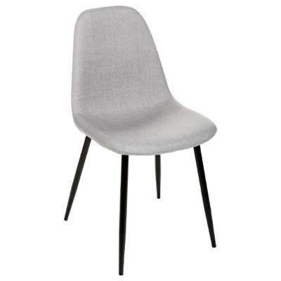Chaise TYKA grise, tissu et pieds en métal noir