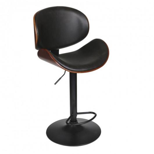 Chaise de bar bois et simili cuir noir