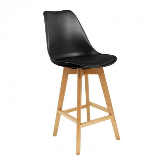 Chaise de bar scandinave avec assise noire