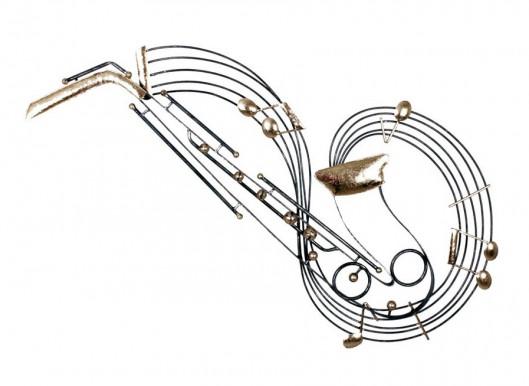 Décoration murale en métal, Saxophone sur portée musicale, 51 x 95 cm