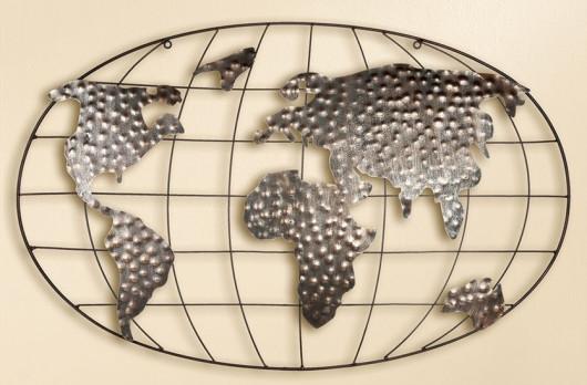 Décoration murale en métal mappemonde 50 x 80 cm