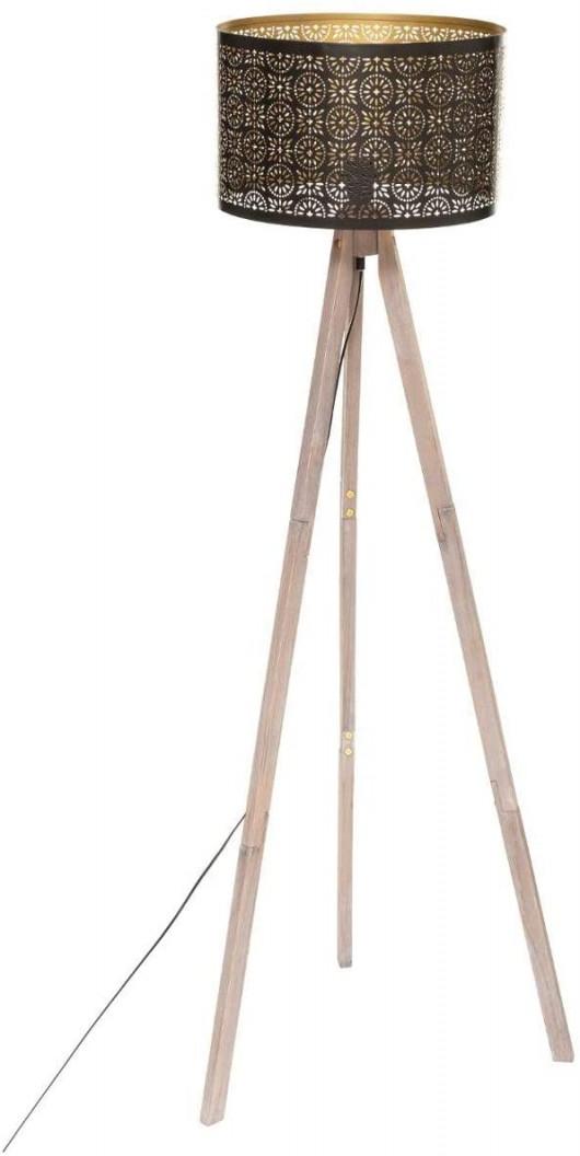 Lampadaire trépied, Abat-jour noir, H 149 cm