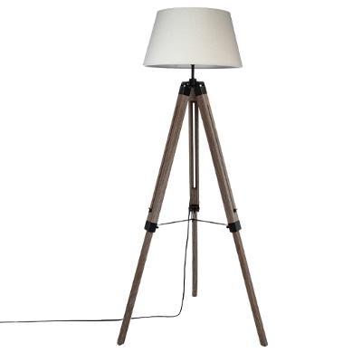 Lampadaire à trépied esprit industriel, H 145 cm, Pieds en bois, Abat-jour Lin