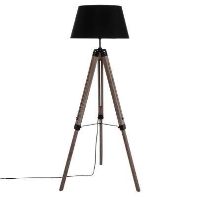 Lampadaire à trépied esprit industriel, H 145 cm, Pieds en bois, Abat-jour noir