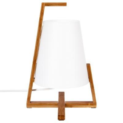Lampe bambou et abat-jour blanc,  H 31 cm -1