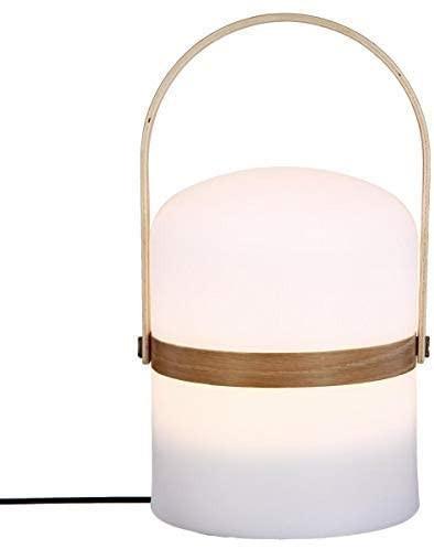 Lampe d'extérieur avec anse en bois, Blanc, 26,5cm