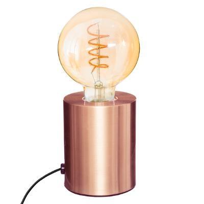 Lampe métal tube cuivre H 10 cm