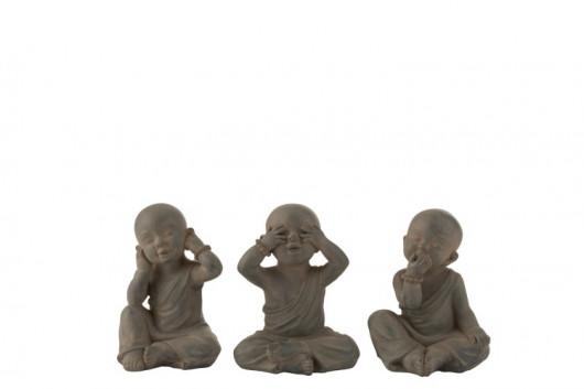 Les 3 moines de la Sagesse - Gris (15x13x19,3cm)