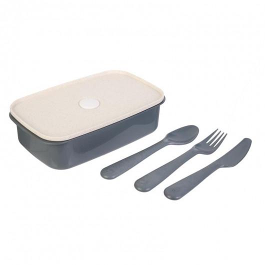 Lunch box en fibre de blé avec 3 couverts, Boîte à tartines