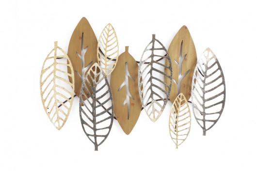 Décoration murale feuilles métal et bois