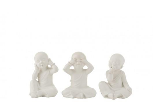 Les 3 moines de la Sagesse - Blanc (15x13x19,3cm)