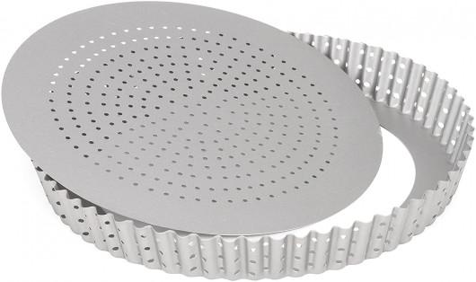 Moule à tarte perforé Silver-Top, Fond mobile Ø28cm, Patisse