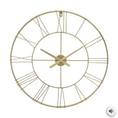 Pendule silencieuse en relief et en métal doré, D 70cm