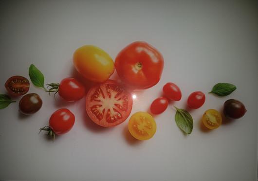 Planche à découper en verre trempé 4mm, 20x30 cm, Décor Tomates