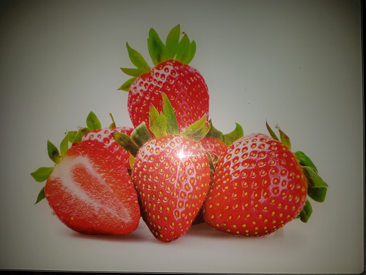 Planche à découper en verre trempé 4mm, 40x30 cm, Décor fraises