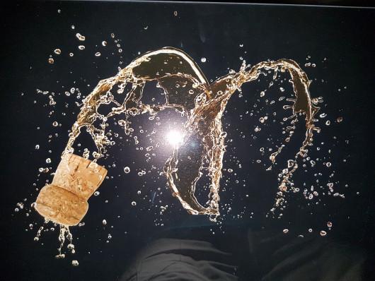 Planche à découper en verre trempé 4mm, 52x30 cm, Décor Champagne