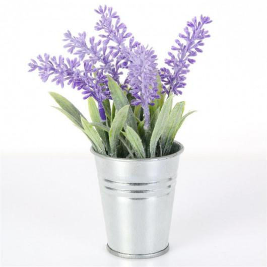 Plante artificielle, Lavande dans pot métal, Ø6 H16 cm