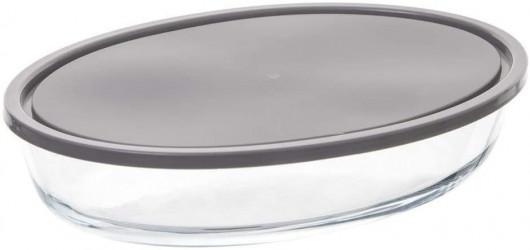 Plat à four ovale 30 x 21cm en verre avec couvercle