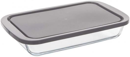 Plat à four rectangle 29 x 18 cm en verre avec couvercle