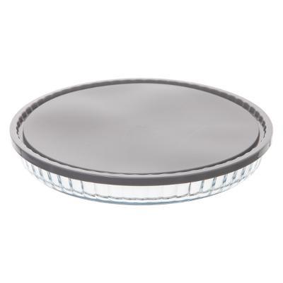 Plat à tarte en verre avec couvercle