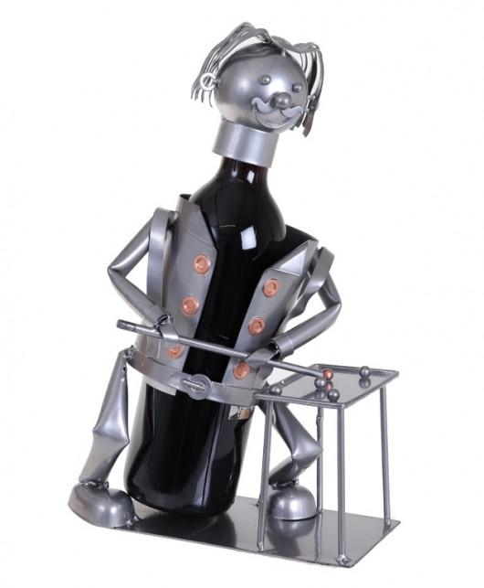 Porte-bouteille vin décoratif – Joueur de billard - Sculpture en métal - Idée cadeau