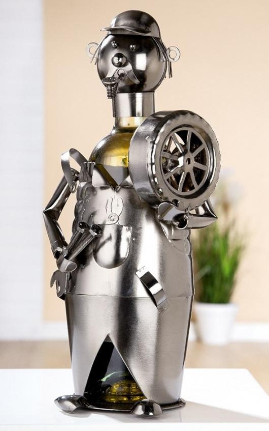 Porte-bouteille vin décoratif – Mécanicien- Sculpture en métal - Idée cadeau