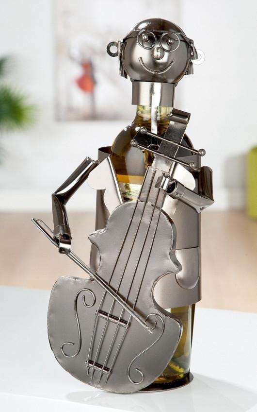 Porte-bouteille vin décoratif – Violoncelle- Sculpture en métal - Idée cadeau