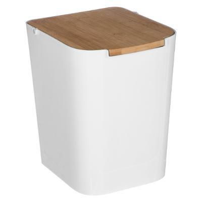 Poubelle à couvercle bambou, 5 L, Blanc