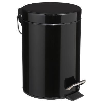 Poubelle en métal noir, 3 L