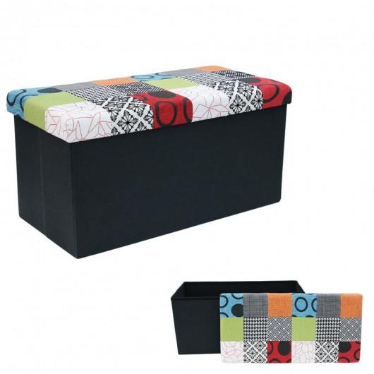 Pouf  Banc en Patchwork multicolore - Coffre de rangement pliable