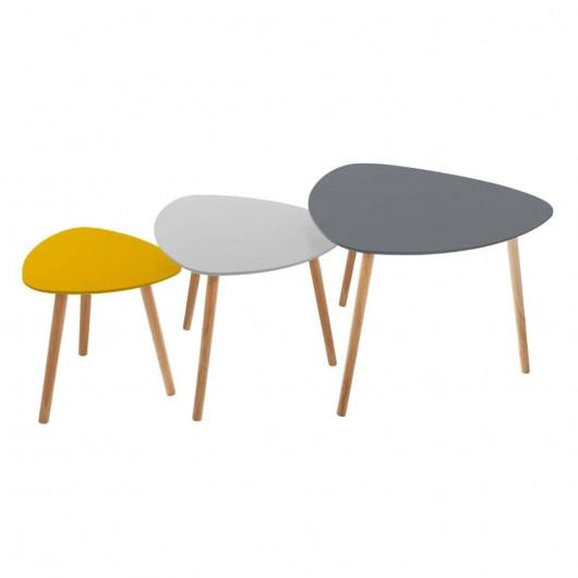 Set de 3 tables à café colorées