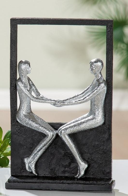 Statue décorative, couple assis, H 26cm