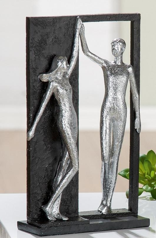 Statue décorative, couple debout, H 27cm