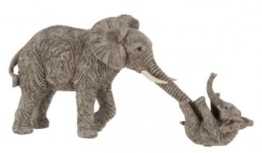 Statue éléphant et son éléphanteau (38x10x19cm)