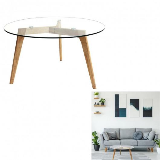 Table Basse en Verre D 80 cm, Transparent, Pieds en bois