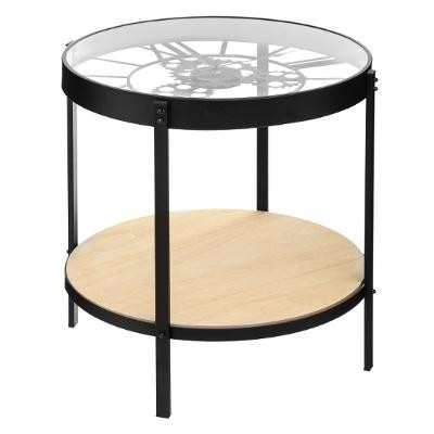 Table d'appoint double niveau avec Pendule mécanique H 49 cm