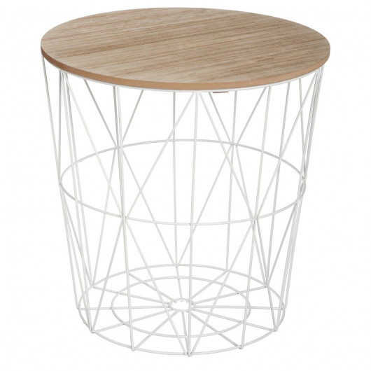 Table café métal blanc – H 41 cm