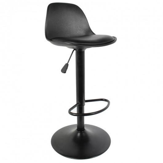 Tabouret de bar, assise noire avec coussin, hauteur réglable