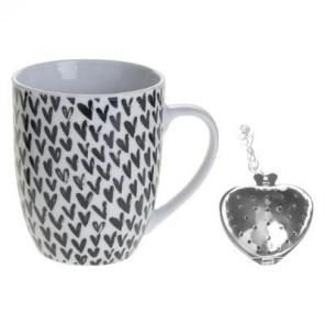 Coffret Mug à thé « Amor » 36cl, blanc et noir