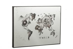 Horloge Miroir Carte du Monde Argent  (80 x 5 x 60cm)
