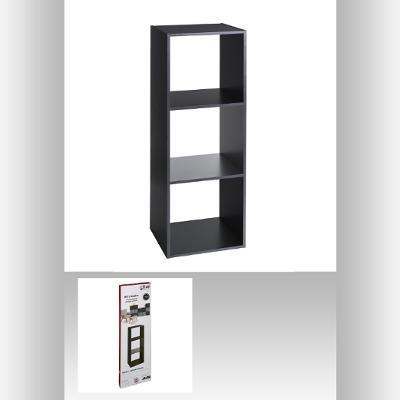 Etagère 3 grandes cases  L 34,4 x P 32 x H 100,5 cm - Bois – Noir