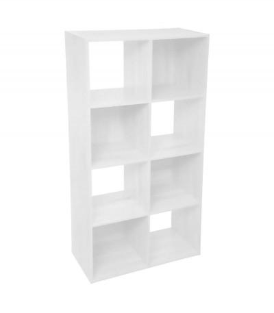 Etagère 8 grandes cases Mix - L. 67,5 x P. 32 x H. 134 cm – Bois - Blanc