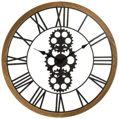 Horloge mécanique métal / bois