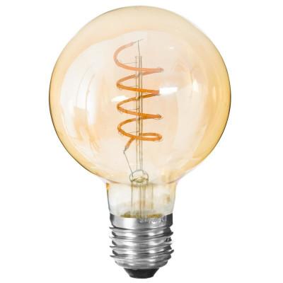Ampoule LED Globe ambrée, filament torsadé, 2W, D 10 cm