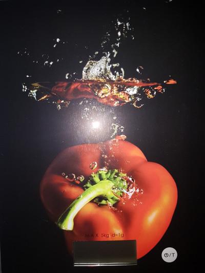 Balance de cuisine électronique en verre trempé, Pradel, Décor poivrons, 20x15x0,4 cm
