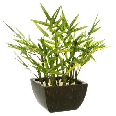 Bambou artificiel en pot noir – H 35 cm