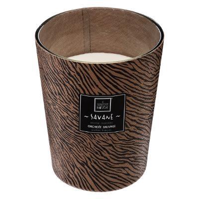 Bougie Parfum Orchidée dans pot en verre effet zèbre noir et marron 480 g